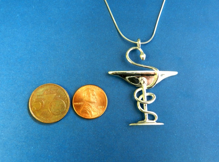 Bowl of Hygeia RX Pendant for Pharmacists 3d printed Polished Silver. Coins for Scale