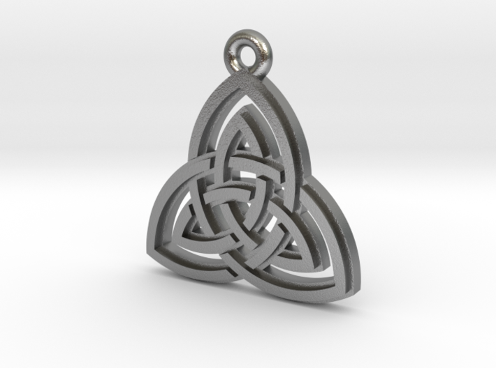 """Double Triquetra"" Pendant, Cast Metal 3d printed"