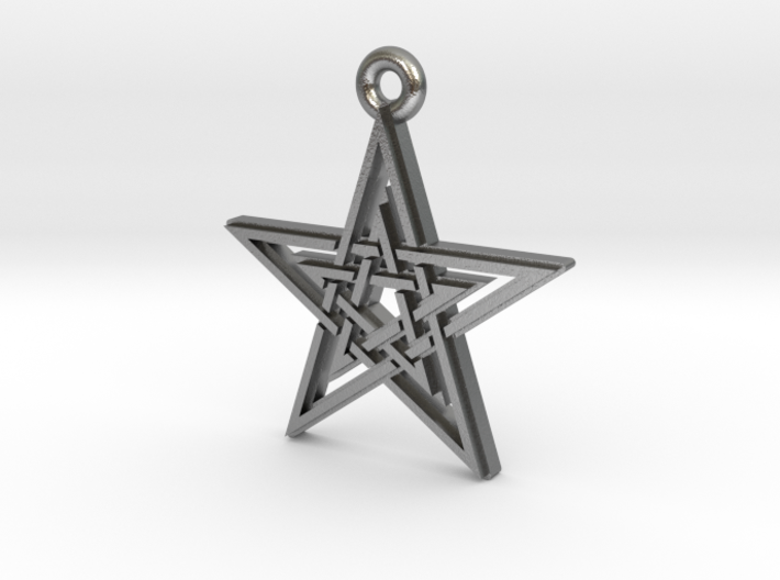 """Double Pentagram"" Pendant, Cast Metal 3d printed"