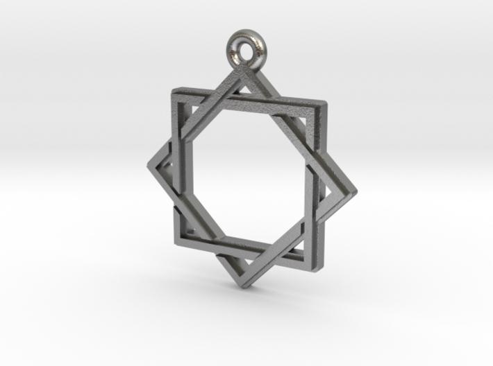 """Octagram 2.0"" Pendant, Cast Metal 3d printed"