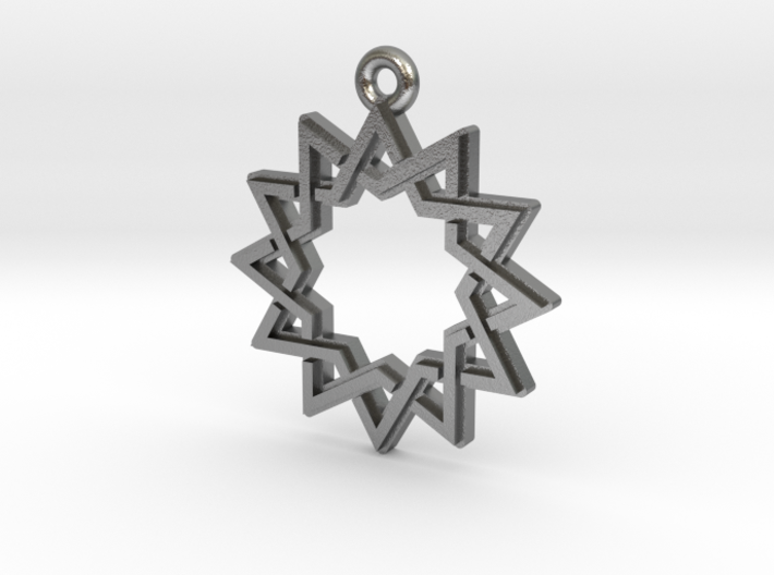 """Dodecagram 4.1"" Pendant, Cast Metal 3d printed"