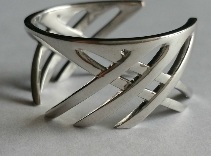 Cross Over Ring (13 1/2) 3d printed Stunning in Rhodium Plated metal