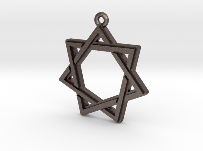 """Heptagram 2.0"" Pendant, Printed Metal 3d printed"