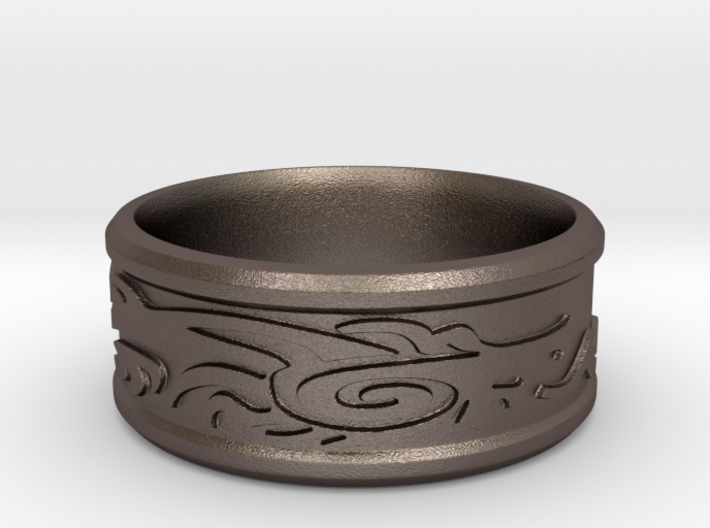 Celtic Dragon / Skyrim Dragonborn Ring 3d printed