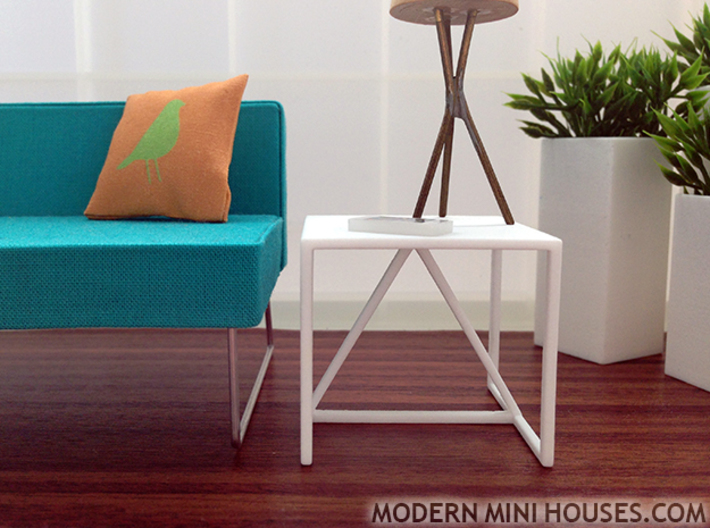 Strut End Table 1:12 scale 3d printed White Strong & Flexible Polished