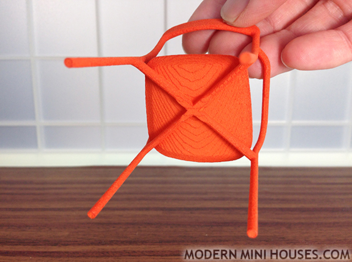 "Branca Modern Designer Chair 1:12 scale 3d printed ""Stepping"" on bottom of seat"