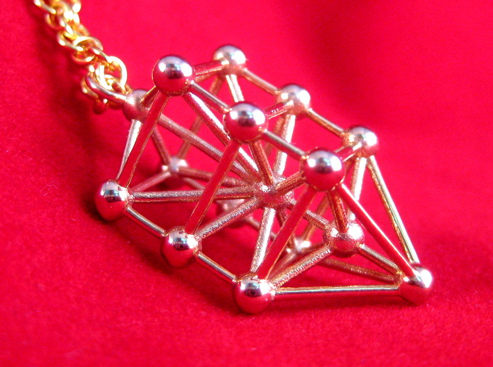 Small Qabalistic Tree of Life Pendant 3d printed 14k Gold Plated Kabbalistic Tree of Life