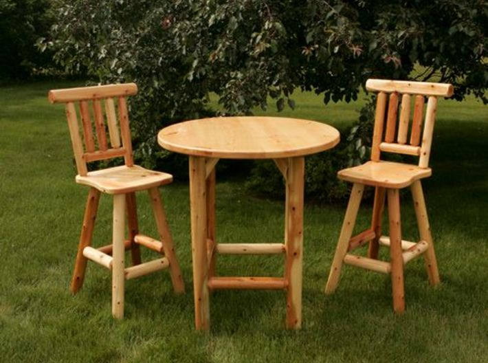 Rustic Chairs, Tables and Bar Stools HO Scale 3d printed These models are inspired by these, but not an exact copy