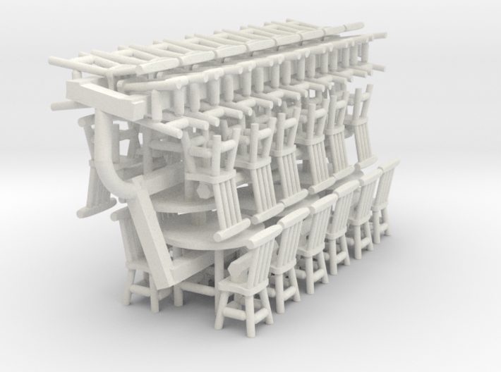 Rustic Chairs, Tables and Bar Stools HO Scale 3d printed