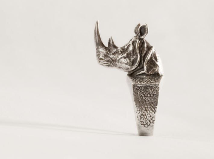 Rhino Ring size7 17.3mm  + more sizes 3d printed Raw silver blackened with liver of sulfur