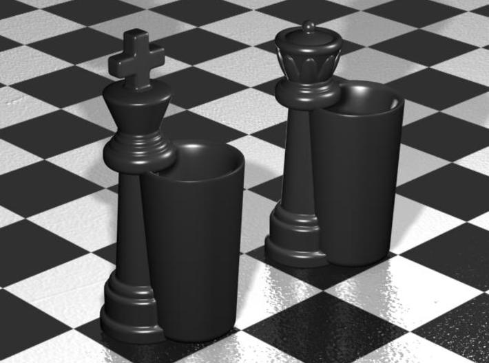 King & Queen Chess Pieces Shot Glasses-44mL/1.5oz 3d printed Gloss Black  Porcelain