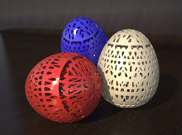 Classical Easter Egg 3d printed rendering of different egg colours