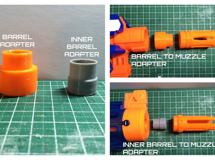 Nerf barrel attachment point to muzzle adapter  3d printed