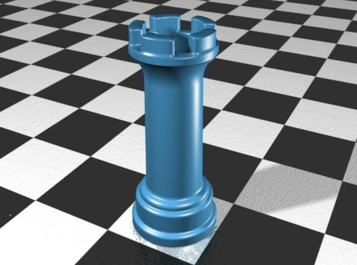 Rook Chess Piece Shot Glass - 30 mL 3d printed Glpss Blue Porcelain