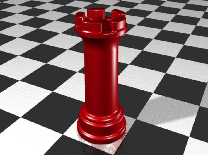 Rook Chess Piece Shot Glass - 30 mL 3d printed Gloss Red Porcelain
