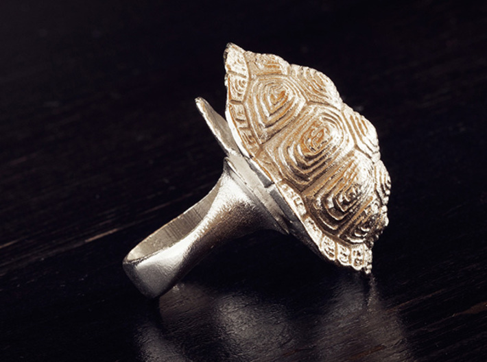 Turtle Ring size7 17.3mm + more sizes 3d printed Raw silver