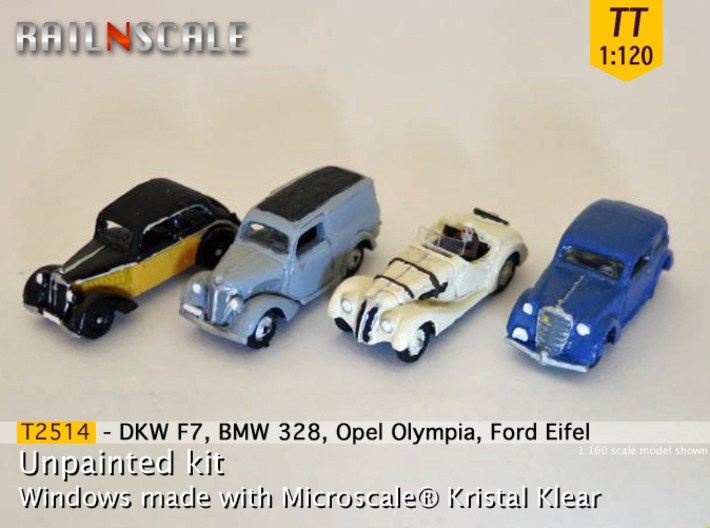German 1930s cars (SET A) TT 1:120 3d printed