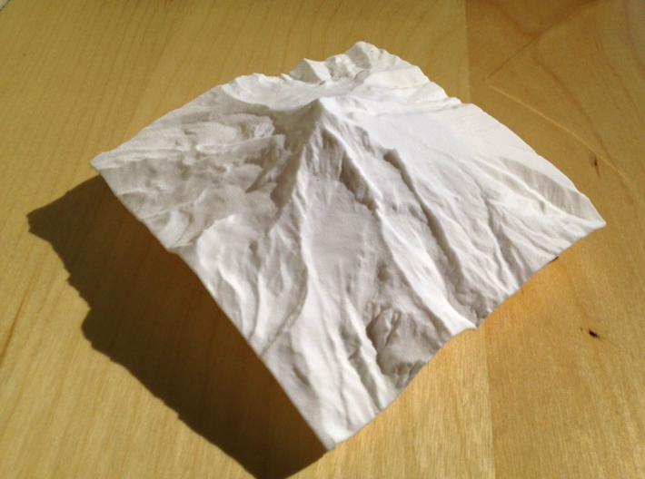 4'' Mt. Hood Terrain Model, Oregon, USA 3d printed Photo of real model