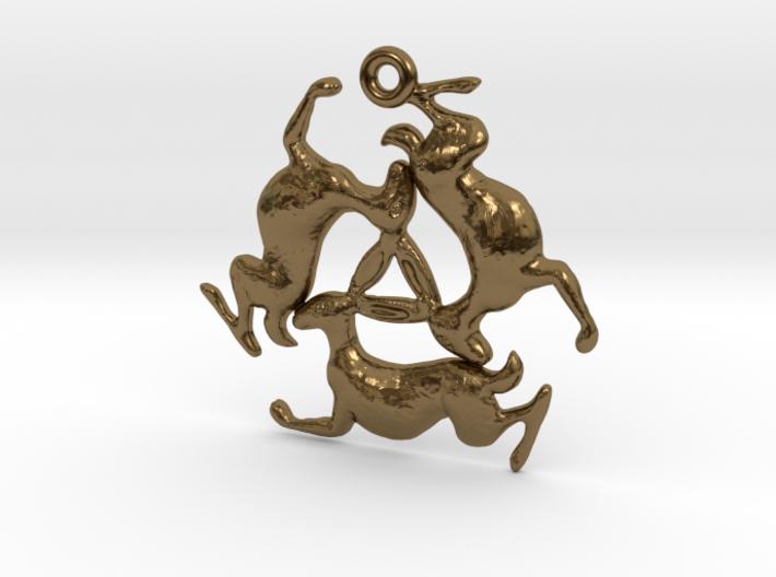 Three Hares Pendant 3d printed