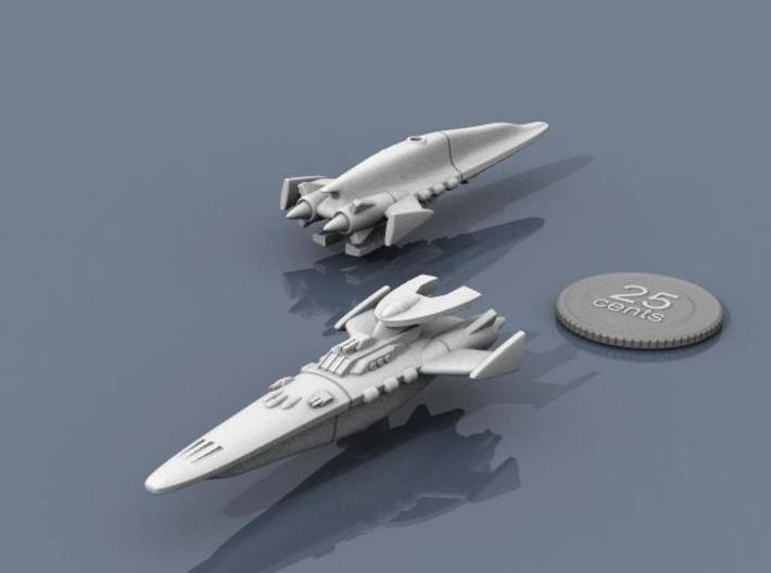 Novus Regency Destroyer 3d printed Renders of the model, with a virtual quarter for scale.