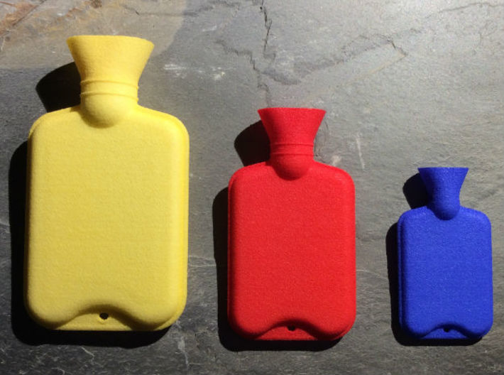 Hot Water Bottle Large 3d printed Hot Water Bottle Large (left), Hot Water Bottle Regular (middle), Hot Water Bottle Mini Bead (right)
