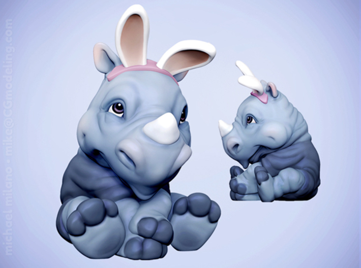 Rita the Rhino, Easter Edition 3d printed