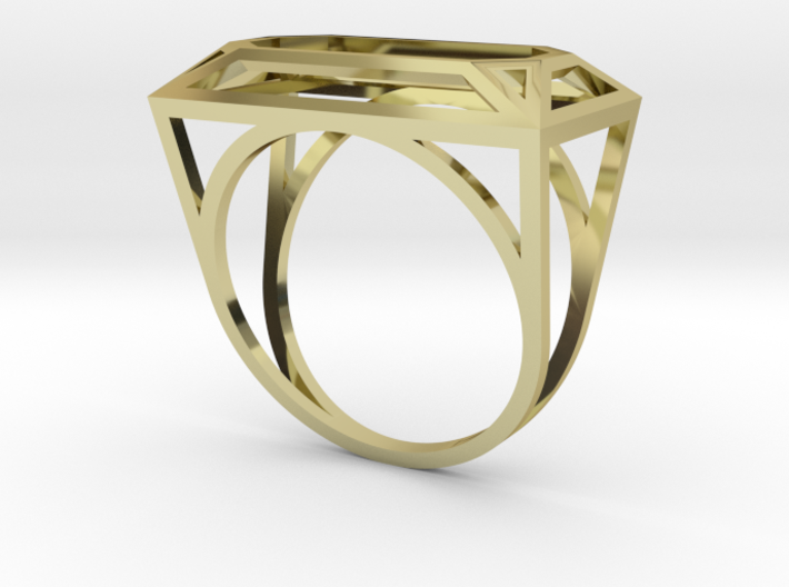 Wire Emerald Ring - US Size 08 3d printed