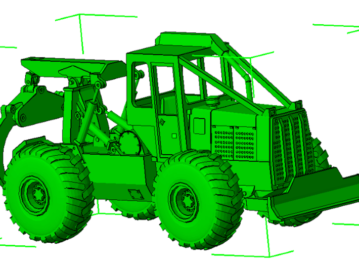 1/87th HO Scale Clark Log Skidder 3d printed As assembled with grapple and tires, both available separately