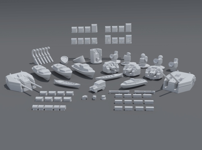 HMS Tiger upgrade kit. 415 scale. 3d printed The pieces included in the kit