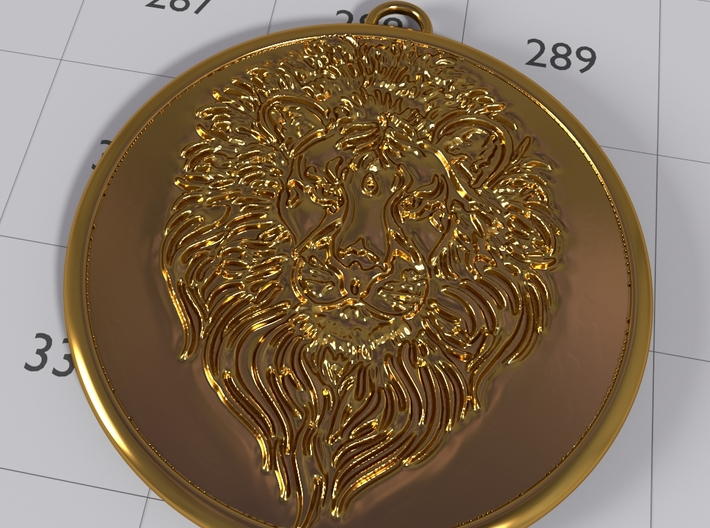 Colleizone Lion Pendant 3d printed Gold