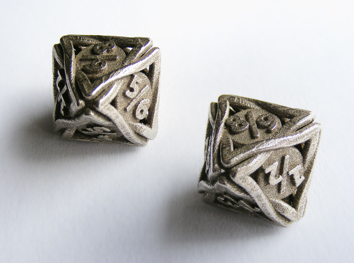 'Twined' Dice D8 Spindown Tarmogoyf P/T Die 3d printed Two views of the die in stainless steel