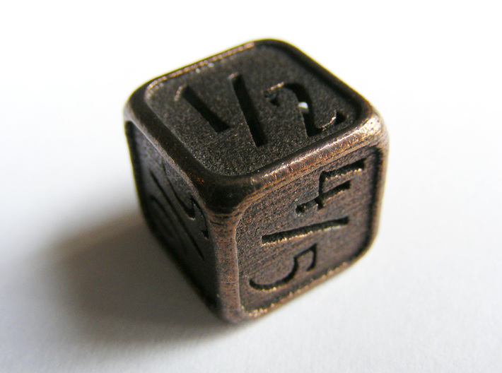 'Simple' D6 Tarmogoyf P/T Die 14 mm 3d printed The die printed in polished bronze steel