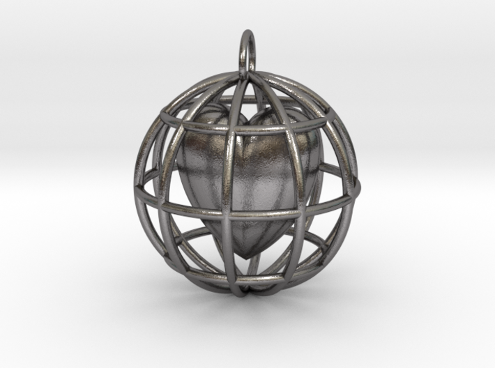 Caged Heart Pendant 3d printed