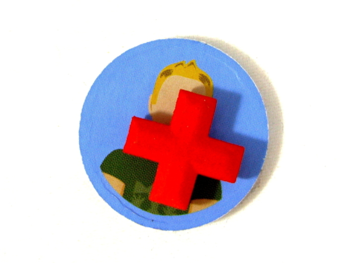 Medical Plus Sign, Heal Token for Flash Point 3d printed Shown on top of victim marker from game