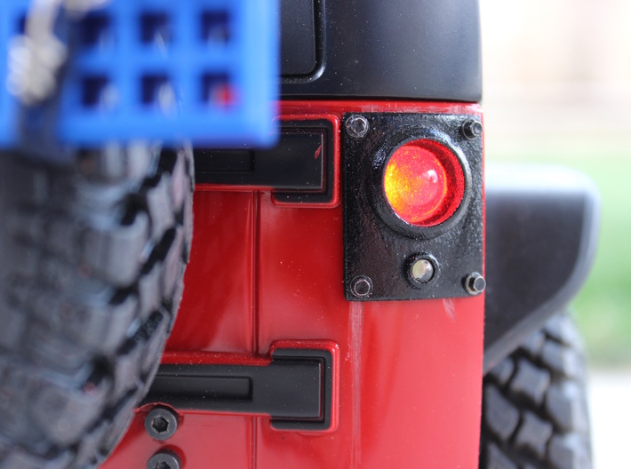 JK Flush Mount Tail Lights 3d printed Finished product with semi-gloss black paint, scale hardware, and LEDs.