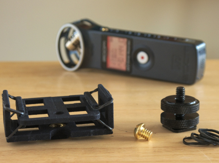 Zoom H1 Isolation Mount v2 3d printed Shown with the parts needed to completely build this mount.
