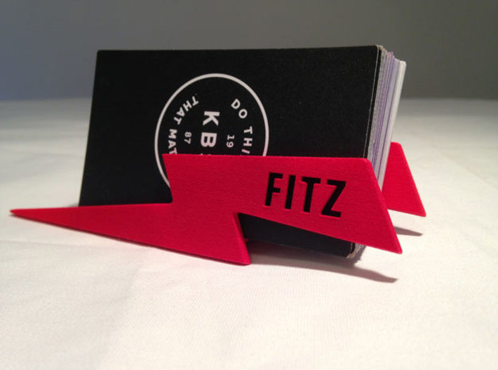 Personalize-able Lightning Bolt Business Card Hold 3d printed