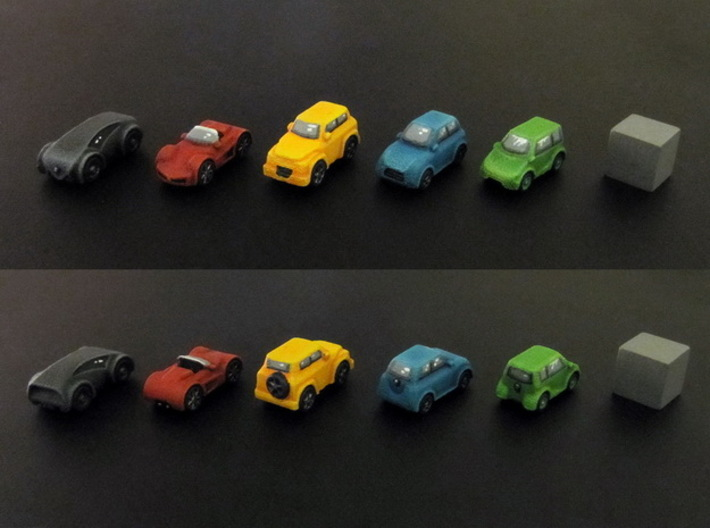 Miniature cars, 5 models x 1 (5pcs) 3d printed Hand-painted cars (white strong flexible). 10mm cube on the right for scale.
