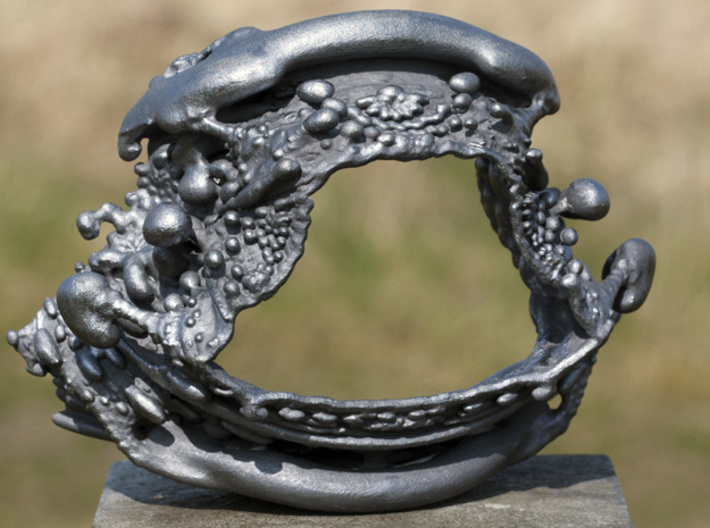 Slice of Spine - Two Vertebrae - Fractal Bracelet 3d printed Painted with metalcote