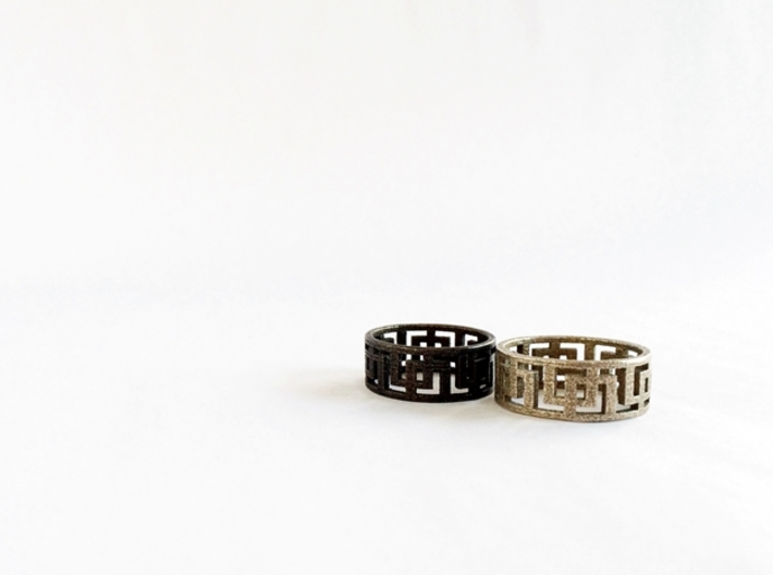 Geometric Ring - Mens ring in rugged steel  3d printed Geometric rings in Steel and Polished Bronze Steel