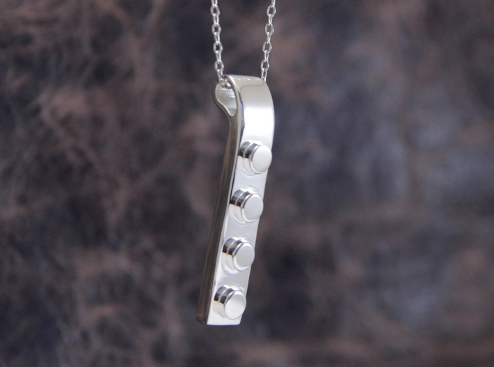 Brick Pendant 3d printed This material is Polished Silver (Chain not included.)