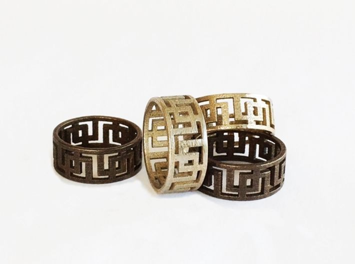 Geometric Ring - Mens ring in rugged steel 3d printed Geometric Rings by seriaforma.