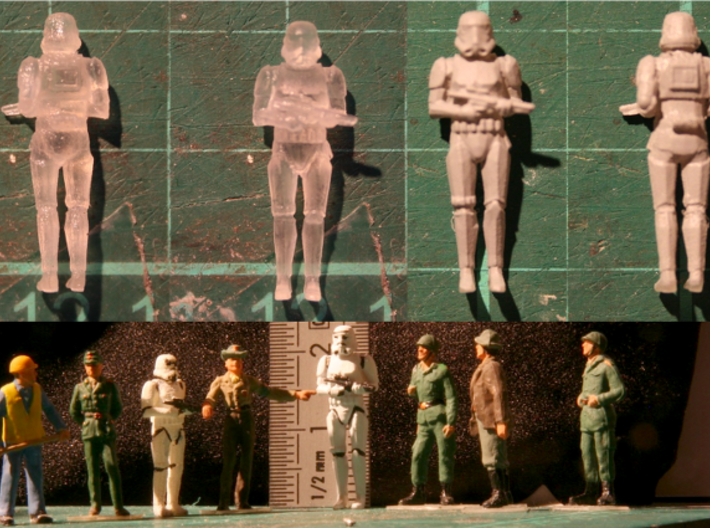 Stormtrooper in position of Attention 3d printed FUD printed, Raw, primer coated and painted