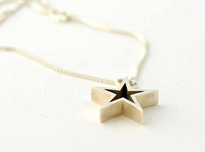 Star Pendant Necklace (JN0149_STRPD) 3d printed polished silver pendant / getbli