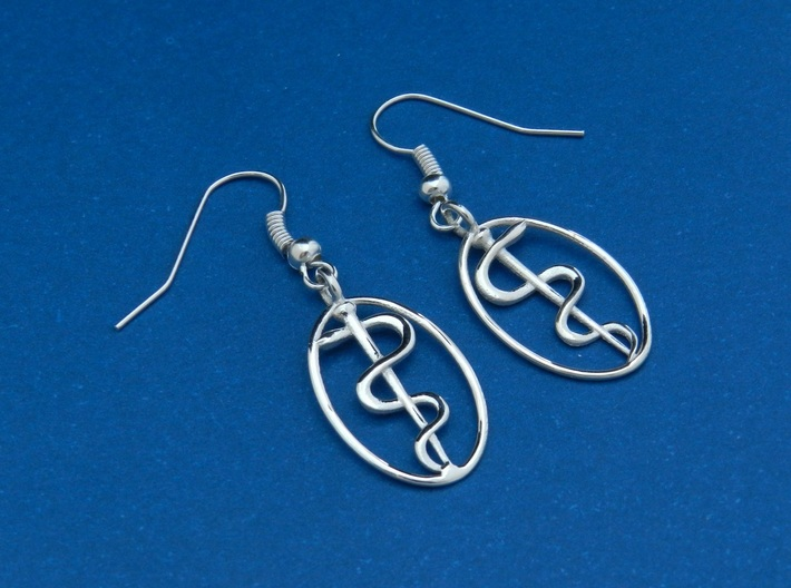 Rod Of Asclepius Earrings - Mini 3d printed Polished Silver