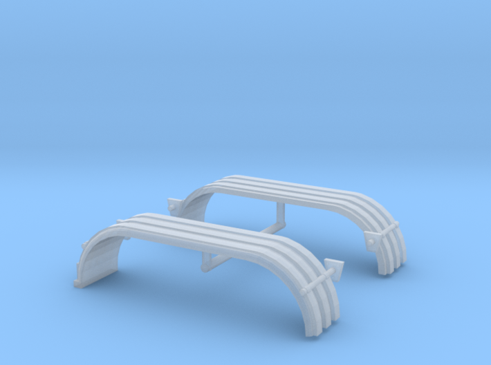 1/87th HO Truck Tandem Fenders ribbed w lights 3d printed
