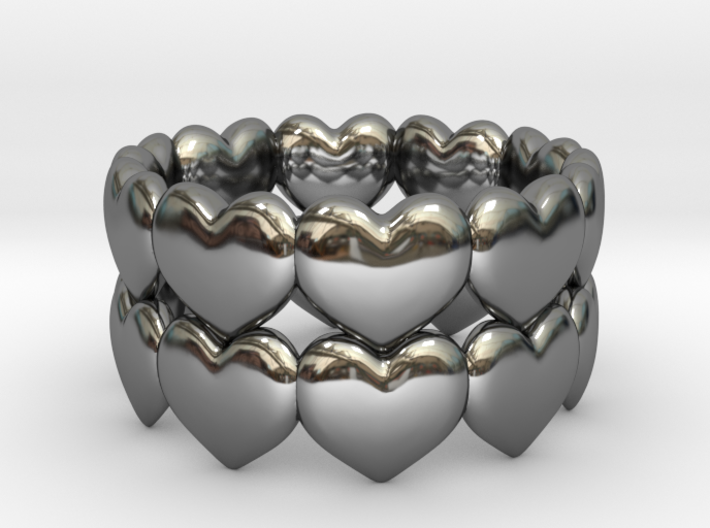 Ring Double Hearted (parallel) 3d printed