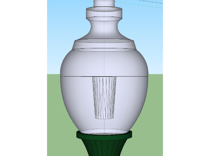 HO scale Streetlight 01 x 1 3d printed Render showing interior void diffuser