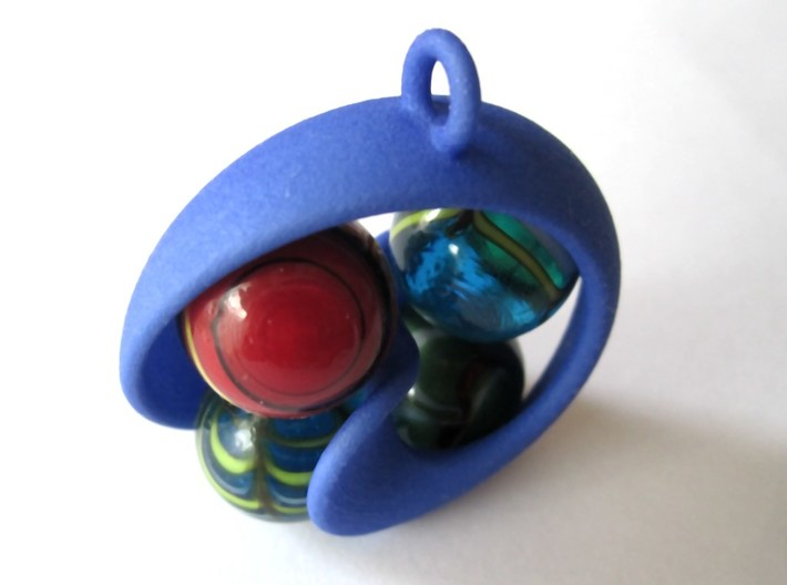 Half Mob-Tor: the half Mobius Torus Shell 3d printed in Violet Purple Strong and Flexible (perspective view with marbles)