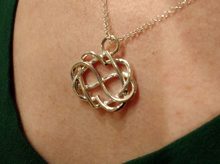 Infinity Heart Pendant 3d printed The pendant being worn